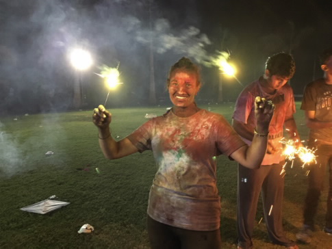 Celebrating Holi and playing with sparklers with my classmates. The festival of color was something that I always wanted to experience. It was amazing that I had the opportunity. Never in my lifetime would I have thought I would be in India to experience this event