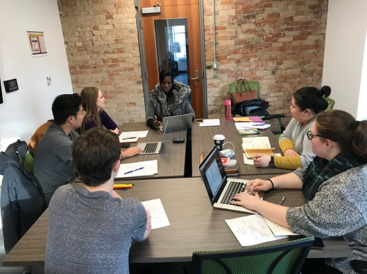 Humber students meeting with Michelle Hastick-Cowell